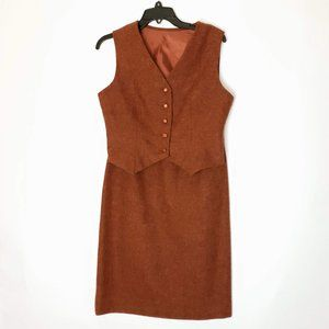 Vintage Vest Pencil Skirt Set Wool Burnt Orange
